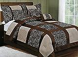 Queen Size 7 Piece Safari - Zebra - Giraffe Print Brown Micro Fur Comforter Set, Bed in Bag