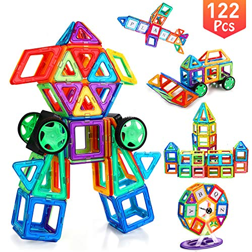 YBQZ Magnetic Tiles Building Blocks Toys for Kids Toddlers 122 Pcs Children Preschool Educational Construction Kit Magnet Stacking Toys for Boys Girls Age 3 4 5 6 7 8 Year Old