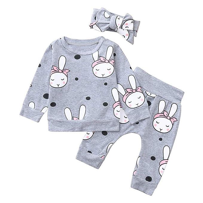 Conjuntos Bebe Reborn Invierno, ❤ Zolimx 3Pcs Bebé Recién Nacido de Dibujos Animados de Impresión Tops Ropa+ Pantalones + Diadema Conjuntos Equipo: ...