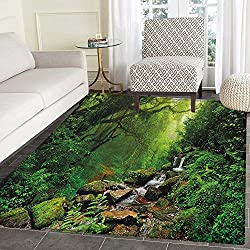 Nature Area Rug Carpet Into the Woods Idyllic Forest Greenland Dreamy Mystic Fresh Tropical View Living Dining Room Bedroom Hallway Office Carpet 5'x6' Emerald Hunter Green