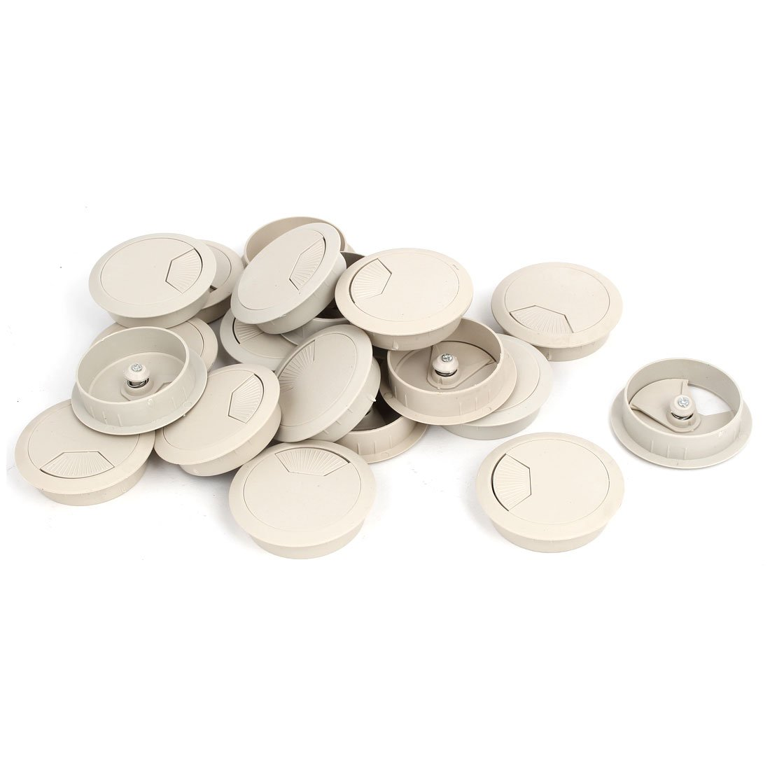 uxcell Computer Desk 53mm Dia Plastic Adjustable Grommet Cable Hole Cover Gray 20pcs