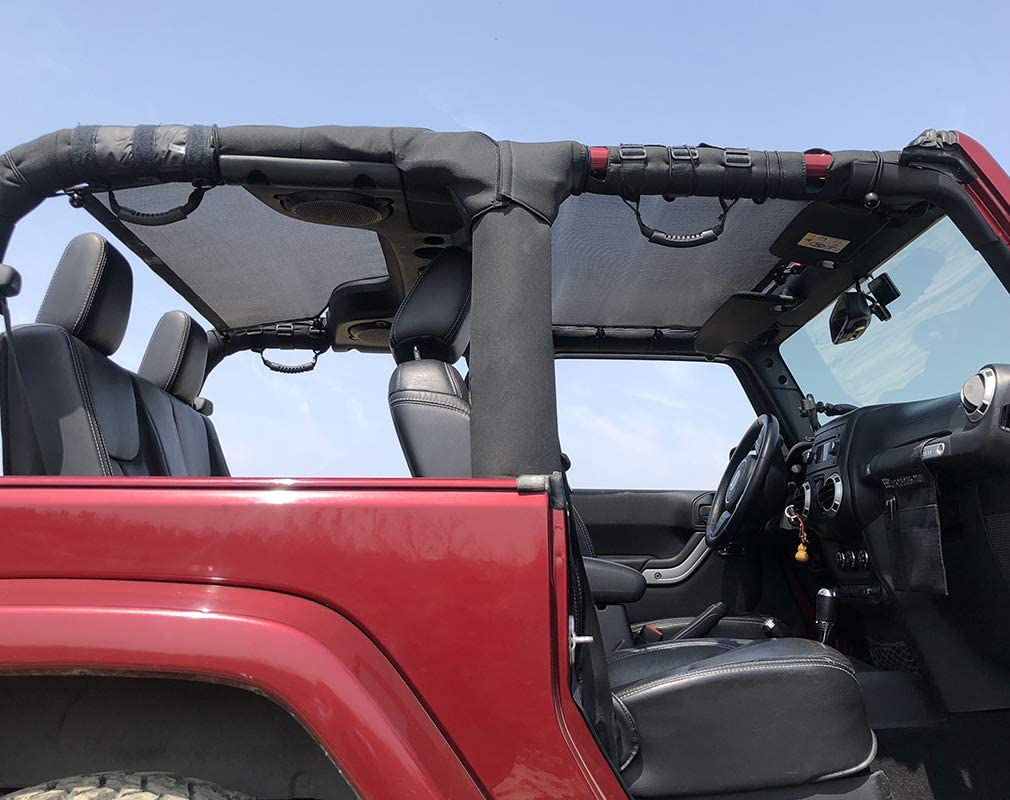 Shadeidea Jeep Wrangler Sun Shade JK 2 Door Sunshade 2007-2018 Top Front+Rear+Trunk-Green Mesh Screen Cover UV Blocker with Grab Bag Storage Pouch-10 Years Warranty