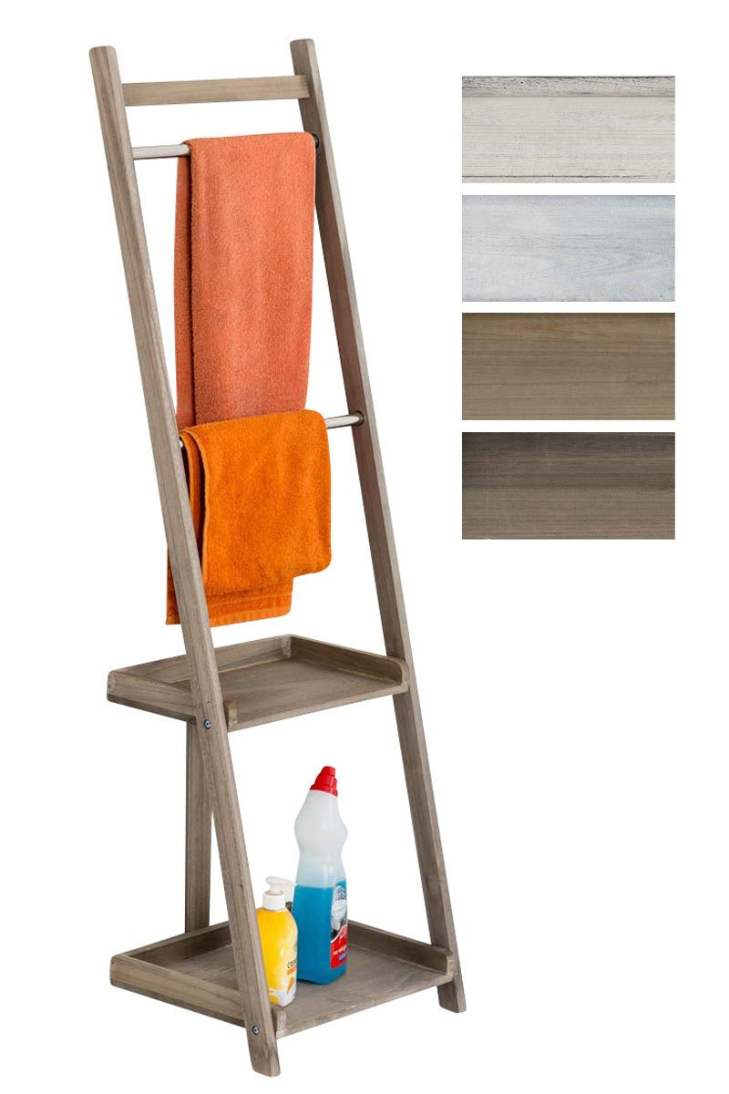 CLP Towel holder YOKOHAMA, paulownia wood, freestanding towel holder, country style antique white