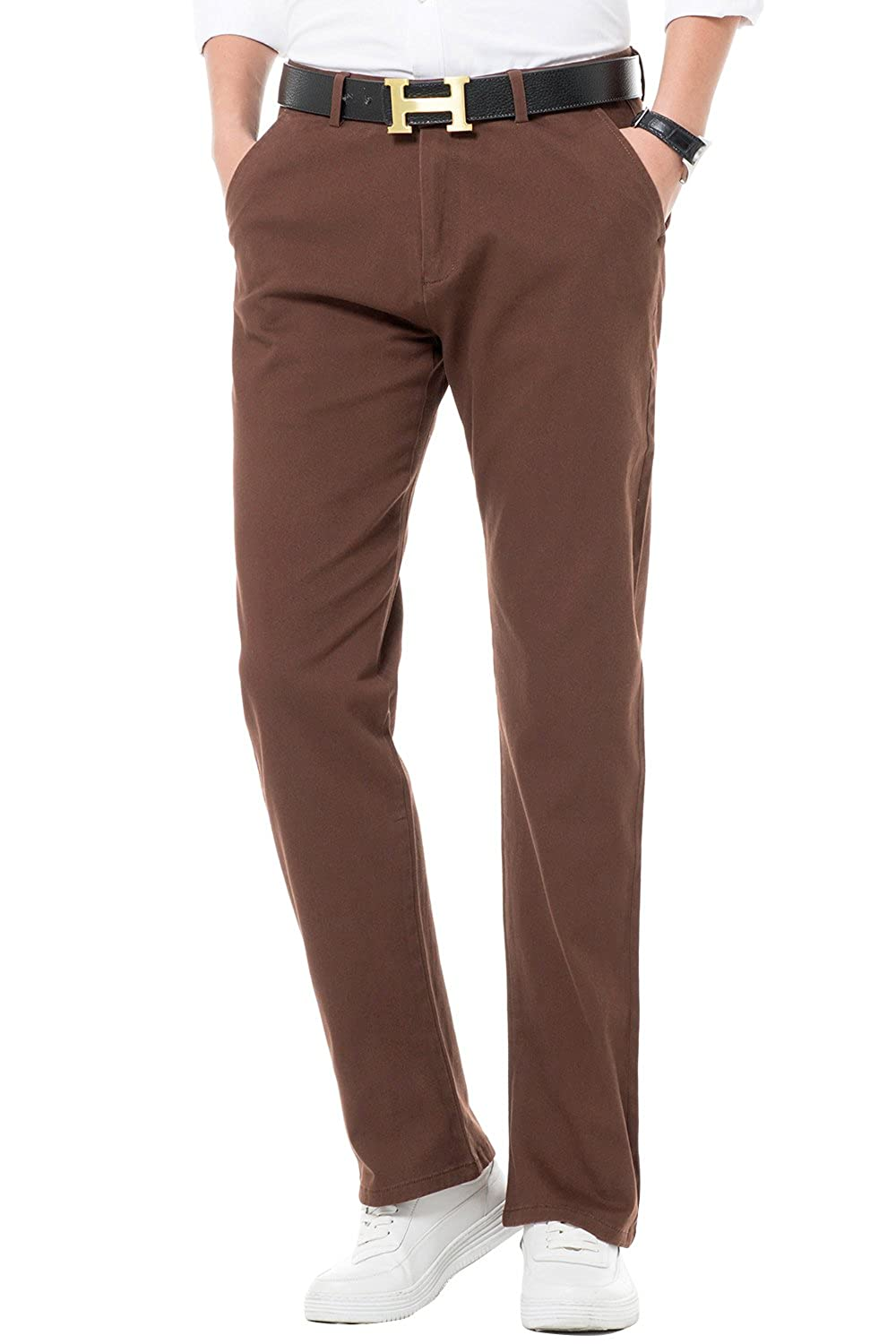 INFLATION Men's Stretchy Straight Fit Casual Pants, Blend Combed Cotton Flat Front Formal Trousers Dress Pants