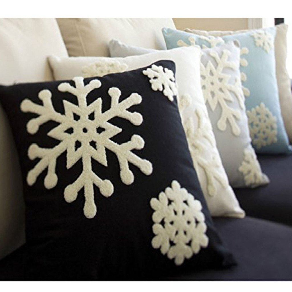 Canvas Cotton Embroidery Throw Covers Christmas Snow Square Throw Pillow Covers Black