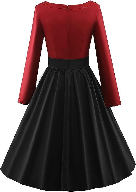 LUOUSE Robe de Soiree, Vintage Style, Retro Años 50 Rockabilly ...