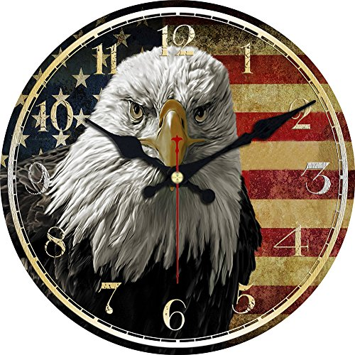 MEISTAR American Country Style Bald Eagle Design Wooden Wall Clocks,Big 16 Inch Easy to Read Office and Classroom Decorative Silent Quiet Wall Clocks