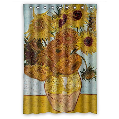 Eyeselect Art Painting Vincent Willem Van Gogh Sunflower Bath Curtains Polyester Best For Hotel Wife Birthday Valentine Gf. Rust Proof Width X Height / 48 X 72 Inches / W ()