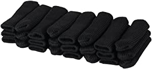 Cuccu 24pcs Black Color Knitting Wool Furniture Socks/Reliable Chair Leg Floor Protector,Wood Floor Protectors with Cute Design, Elastic Chair Furniture Socks Sets, Vertical Knitted and Reduce Noise