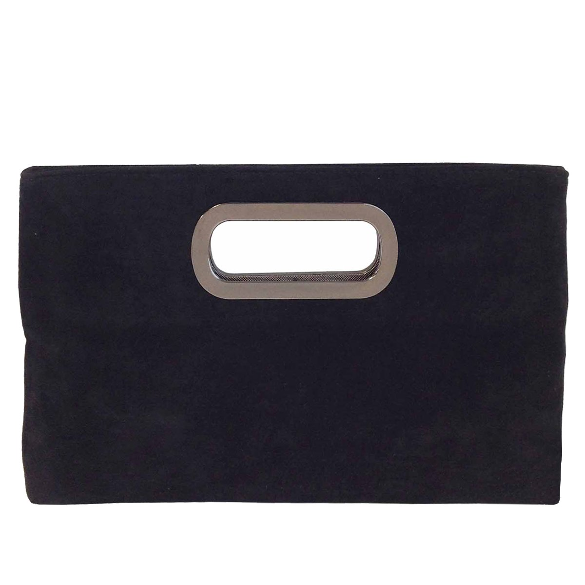 Top Handle Faux Suede Clutch, Black
