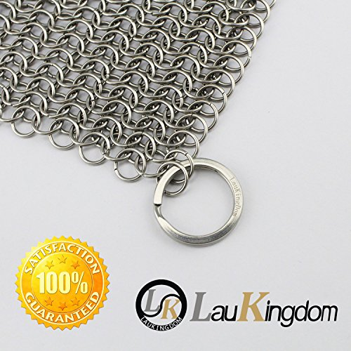 LauKingdom Cast Iron Cleaner - XXL 8x8 More Efficient Stainless Steel Chainmail Scrubber