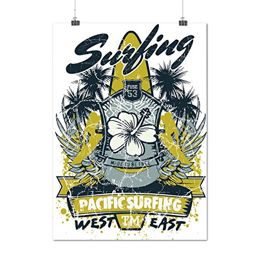 Pacific Surfing Beach West East Matte/Glossy Poster A2 (17x24 inches)   Wellcoda