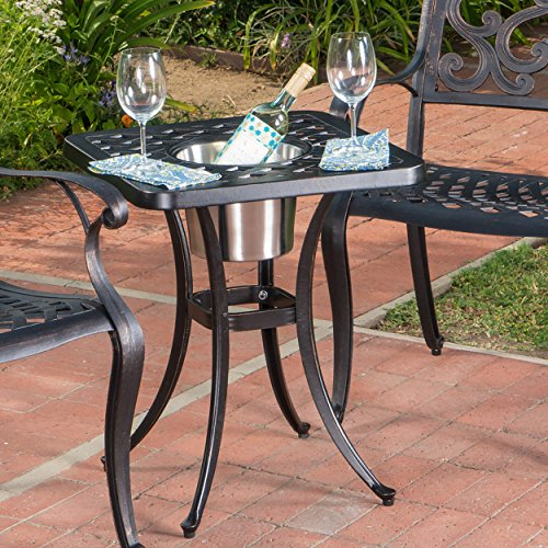Ariel Outdoor Patina Copper Bistro Table with Ice Bucket
