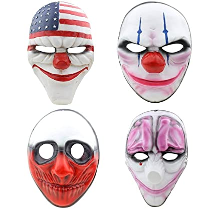 Digo3D Halloween Mask, Payday 2 Theme Game Mask for Horror Cosplay Party,  Fencing, War-Game, Costume Play and More (Payday2 4PCS)