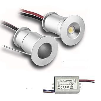 5er mini LED Einbaustrahler Minispot Einbauleuchte Aluminium 3W Warmweiß mit tra