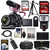 Canon EOS 80D Wi-Fi Digital SLR Camera & 18-135mm is Lens Video Creator Kit + PZ-E1 Zoom Adapter + RODE Mic + 32GB, 64GB Card + Battery + Case + Tripod + Flash Kit