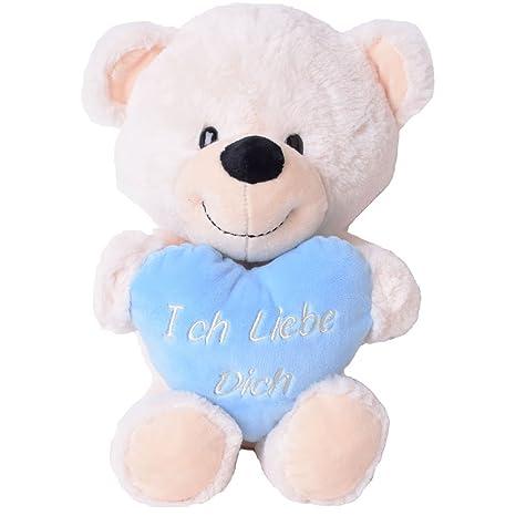 te-trend Felpa osito oso con Corazón Niño Bebé animal blandito bordado 40cm Peluche Osito