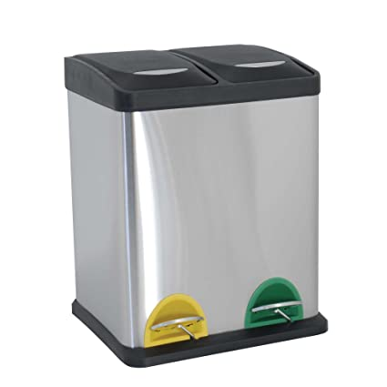 Amazon.com: MSV Pedal Bin with 2 Buckets, Black/Silver ...