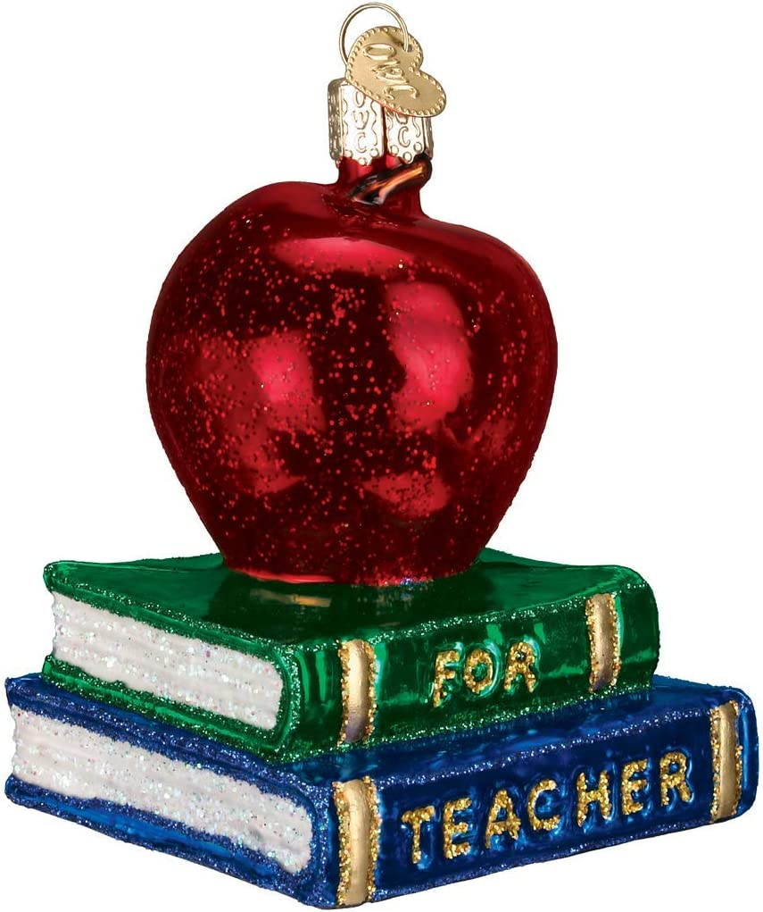 Old World Christmas Glass Blown Ornament with S-Hook and Gift Box, School Collection (Teacher's Apple)