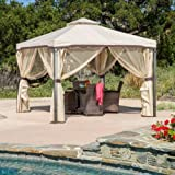 Great Deal Furniture Sonoma Outdoor Iron Gazebo Canopy Umbrella with Net Drapery (Beige) For Sale