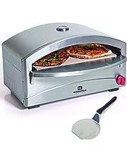 Forno per pizze a gas, con cottura su pietre refrattarie, indicato anche per barbecue, struttura in acciaio inox, 4,8kW, 400 °C in 5minuti, accensione piezoelettrica