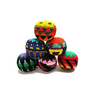 Mia Jewel Shop Guatemalan Handcrafted Crochet Assorted Pattern Hacky Ball Foot Bag Sack Multicolored - Wholesale Set of 3, 6, 12, or 24: Sports & Outdoors