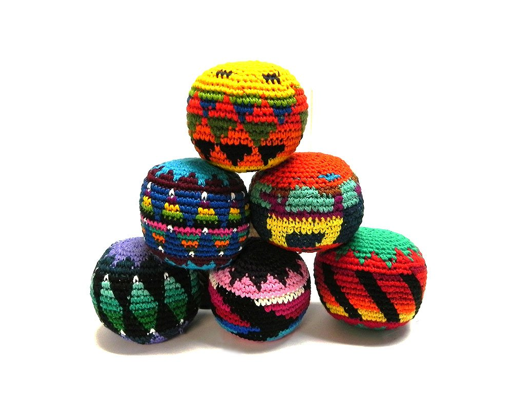 Mia Jewel Shop Guatemalan Handcrafted Crochet Assorted Pattern Hacky Ball Foot Bag Sack Multicolored - Wholesale Set of 3, 6, 12, or 24 (Set of 3) by Mia Jewel Shop
