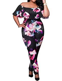4a1c35c1c06f AMZ PLUS Sexy High Waist Plus Size Off Shoulder Floral Romper Jumpsuits for  Women