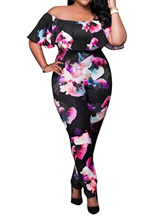 5df570b96b7 Amazon.com  AMZ PLUS Sexy High Waist Plus Size Off Shoulder Floral Romper  Jumpsuits for Women  Clothing