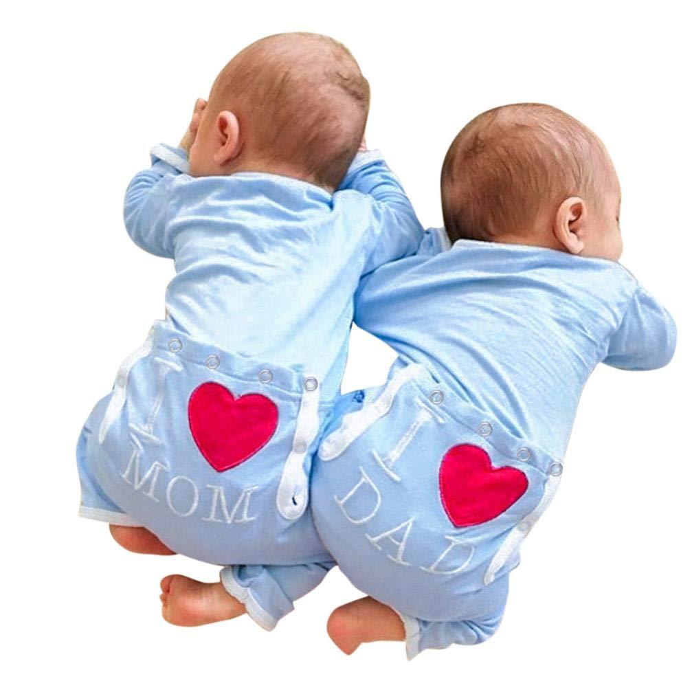 Ropa Bebe Barato, Fossen Recién Nacido Bebé Mono Mameluco de Brother Sister Letra Estrella Patrón Pijamas de Mangas largas Peleles para Dormir para Bebe niño niña