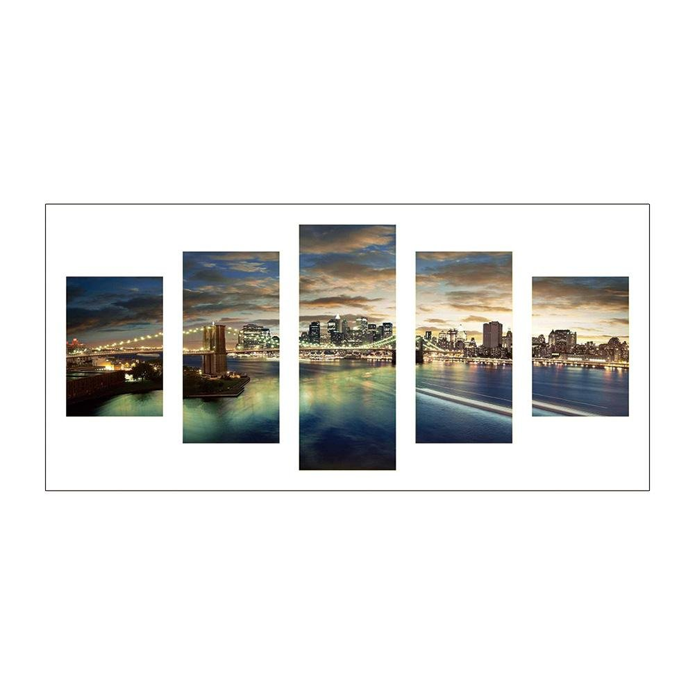 5D DIY Diamond Painting 5 Panels Cross Stitch Embroidery Drawing Kits Wall Decora for Office,Full Drill,Night View