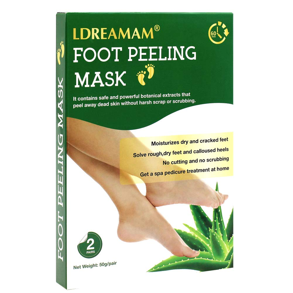 Foot Peel Mask,Exfoliating Foot Mask,Peeling away Calluses and Dead Skin Remover,Repair Rough Heels,Make Your Feet Baby Soft,Natural Aloe Extract-2 Pack by LDREAMAM (Image #1)
