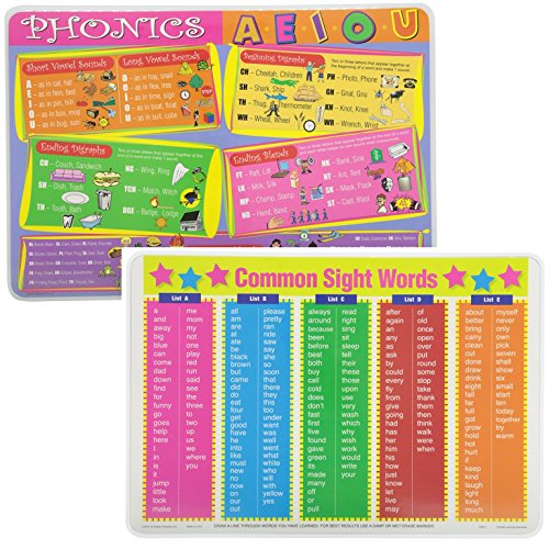 Painless Learning Educational Placemats for Kids Sets Phonics and Common Sight Words Placemat Non Slip Washable (Counting Placemat)