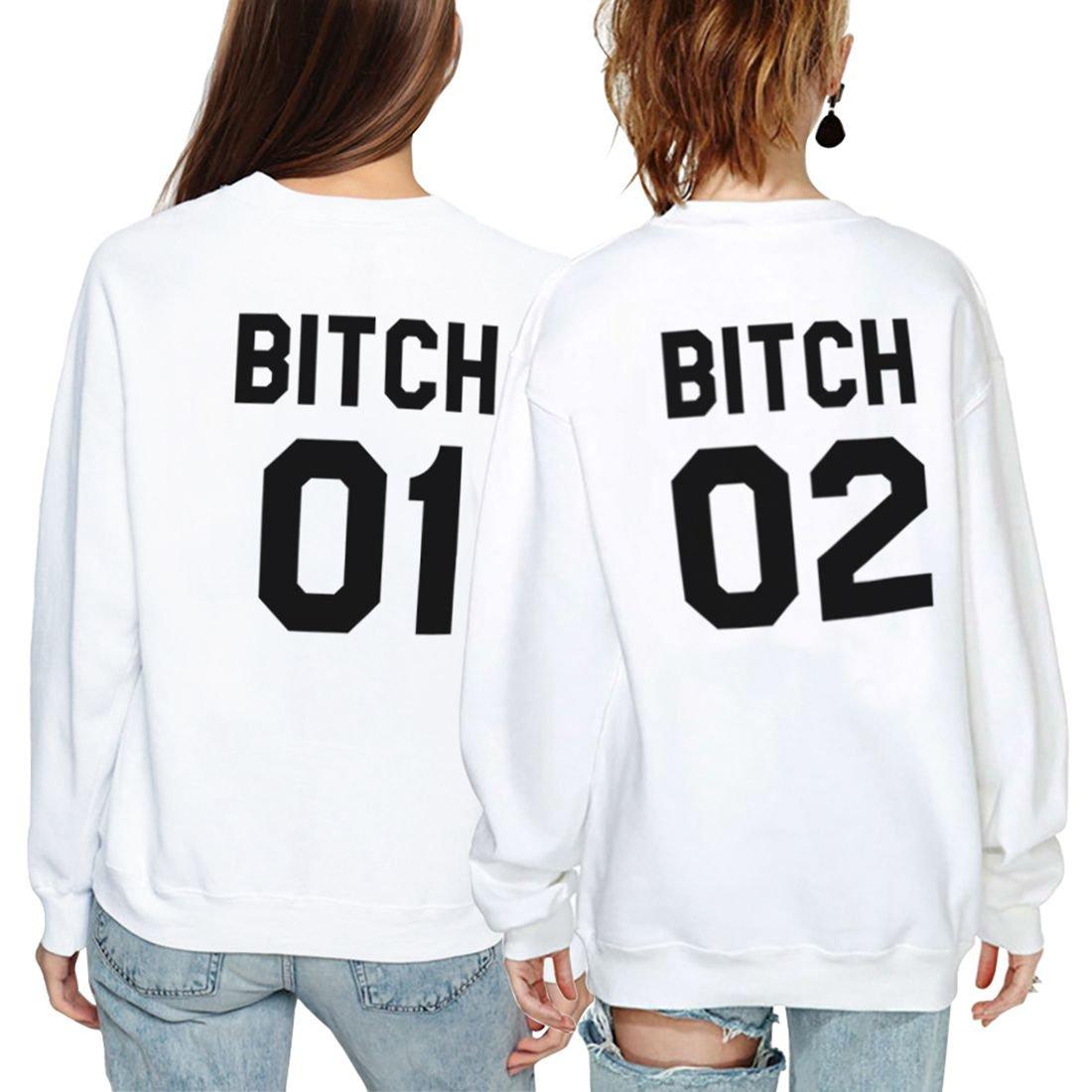 Best Friends Pullover F/ür Zwei M/ädchen Set Sister Sweatshirt Pullis BFF M/ädchen Teenager Wei/ß Hoodie Damen Buchstaben Schwester Geschenk 2 St/ücke