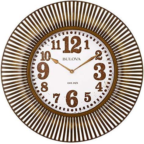 Bulova C4843 Sunburst Wall Clock, Aged Gold/Tone Finish