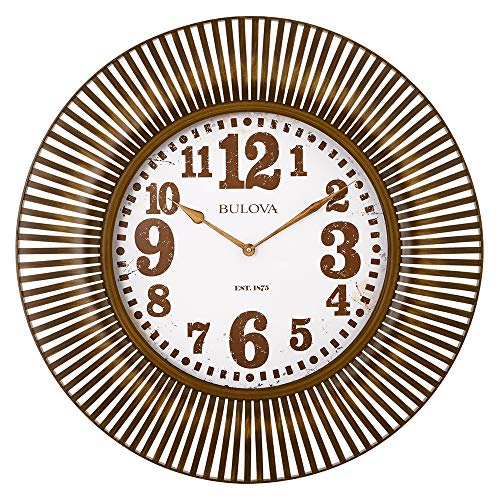 Bulova C4843 Sunburst Wall Clock, Aged Gold/Tone Finish