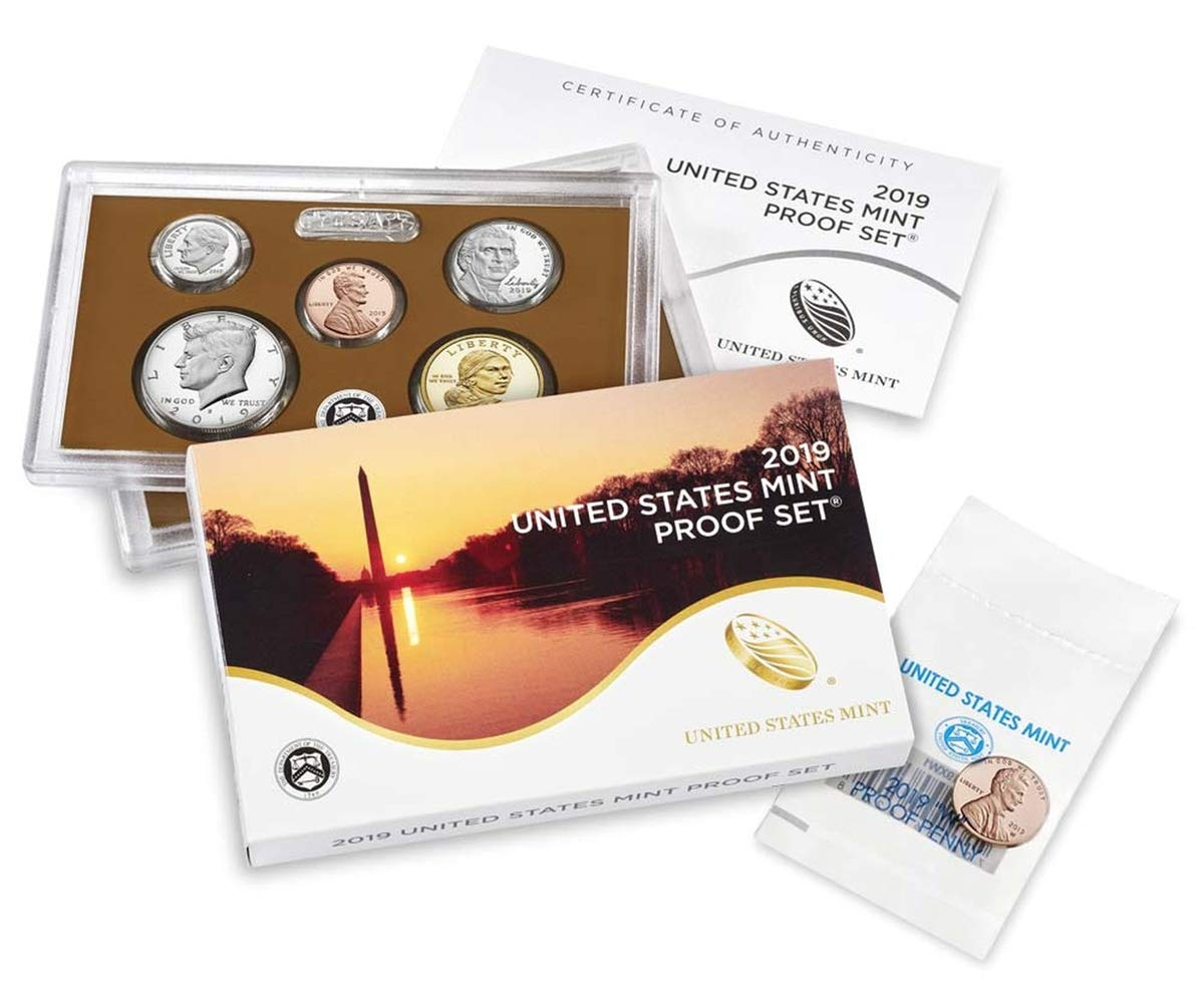 W 10 Coin Clad Proof Set in OGP with CoA and Premium Proof Penny from West Point Mint Proof 2019 S