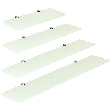 Mensole In Vetro Bianco.Hartleys Mensola Di Vetro Bianco Con I Fissaggi In Cromo Dimensioni A Scelta