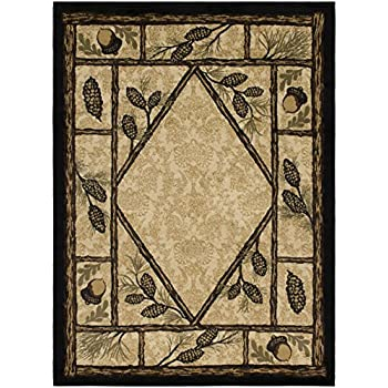 Amazon Com Rustic Lodge Wooded Pine Cone 5x7 Area Rug 5
