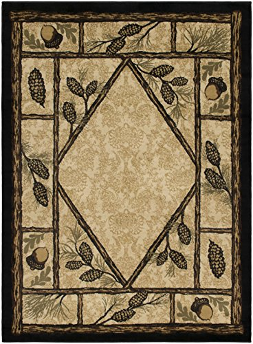 Rustic Lodge Wooded Pine Cone 5x7 Area Rug, 5'3x7'3 (Lodge Rustic Pine)