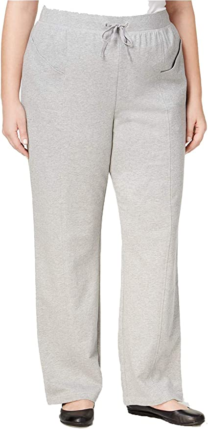 Karen Scott Plus Size Womens Pants Pull On Drawstring French Terry Pants Grey