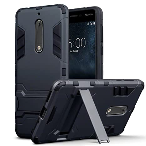 buy popular 3332a 86f22 TERRAPIN, Compatible with Nokia 5 Case, Full Body Shock Resistant Armour  Cover with Kickstand - Black