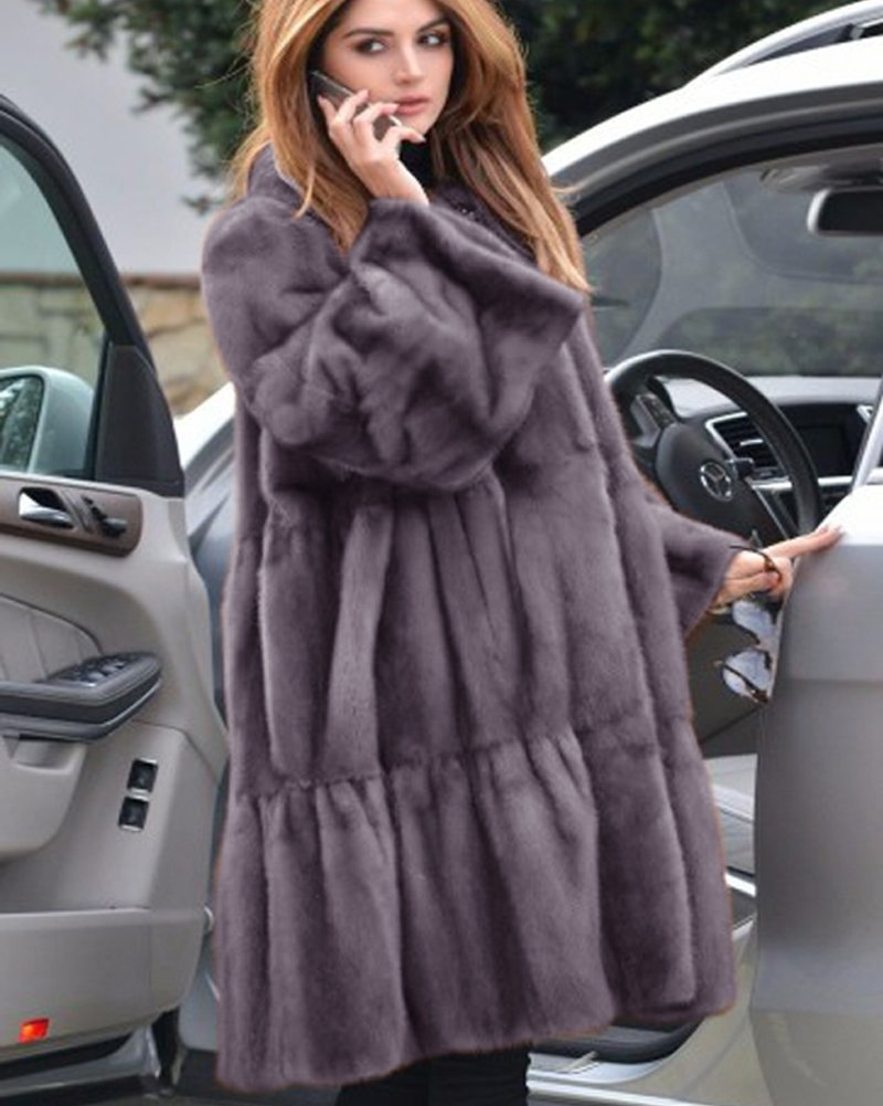 Aofur Luxury Faux Fur Parka Coat Long Lapel Trech Jacket Winter Outerwear Warm Overcoat Women Size S-XXXL (Medium, Grey) by Aofur (Image #5)