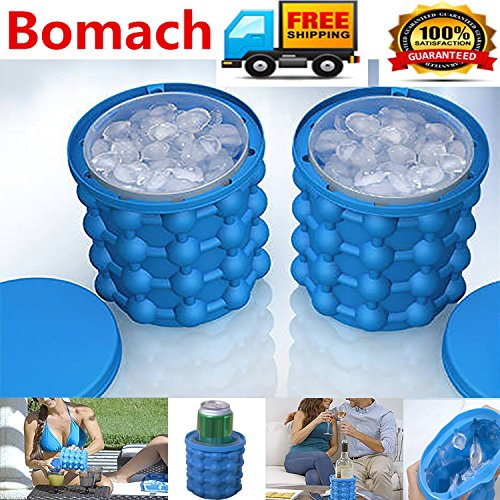 Bomach Ice Cube Maker Genie Revolutionary Space Saving Ice Ball Maker Bucket Party Drink Tub Silicone Trays Mold Kitchen Tools For Chilling Burbon Whiskey Cocktail Beverages And More