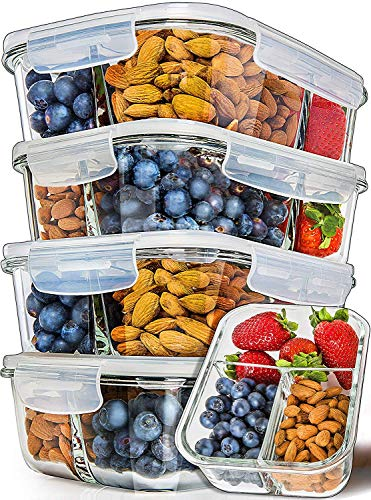 (Prep Naturals Glass Meal Prep Containers 3 Compartment [5-Pack]- Bento Box Containers Glass Food Storage Containers with Lids - Food Prep Containers Glass Storage Containers with lids Lunch Containers)