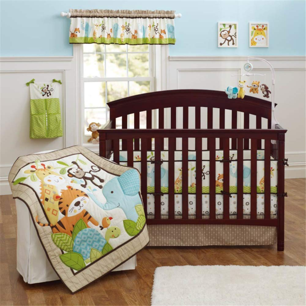 Spring Baby Crib Bedding Set 9 Piece Nursery Crib Bedding Set for Baby Boys and Girls, Including Comforter, Crib Sheet, Crib Skirt, Bumpers, Window Valance, Diaper Stacker(Forest Animals-9 Piece)