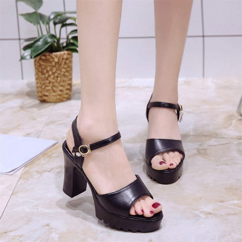 Summer Buckle Slope Sandals for Party Wedding Club CofeeMO Womens High Heels Wedge Sandals