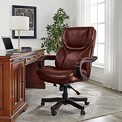 Amazoncom Serta Bonded Leather Big Tall Executive Chair Brown