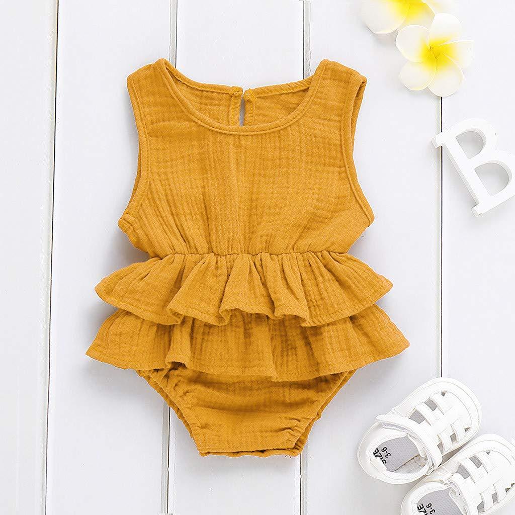 Cuekondy 0-24 Months Newborn Toddler Baby Girl Sleeveless Solid Ruffle Romper Bodysuit 2019 New Summer Clothes