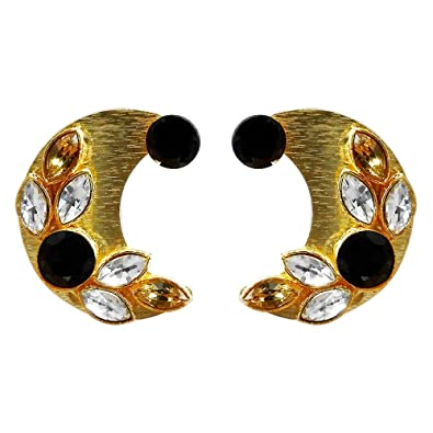 df3a373cd Buy JewelMaze Black Resin Stone Gold Plated Stud Earrings-1311406B Online  at Low Prices in India   Amazon Jewellery Store - Amazon.in